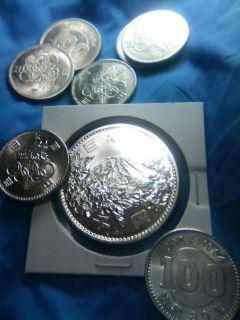 ��(i150)(*^^*)/ 東京オリンピック(昭和39年)の1000円銀貨と100円銀貨の画像を掲載しまーーーす。